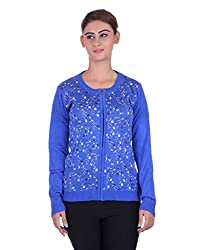 eWools Women's Blue Wool Sweater (722-eWools-Medium)