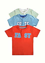 Pack of 3 Kiddo cotton half sleeve Baby Boy T shirt (6-12 Months, Red)
