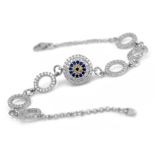 Silver Evil Eye Cross Bracelet with Celebrity Design Simulated Diamond and Sapphire Cz Stones