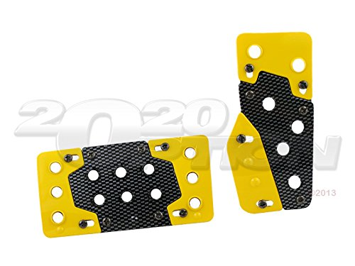 Pilot Automotive Yellow Carbon Look A/T Automatic Transmission Pedal Pads PM-216Y