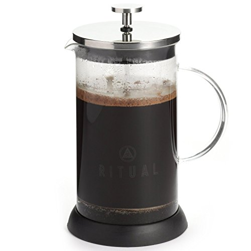 French-Press-9-cup-Coffee-Press-Maker-36-Oz-with-Thick-Professional-Grade-All-Glass-Body-and-Handle-Zinc-Lid-and-Silicone-Heat-Resistant-Base