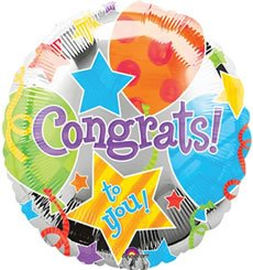 Printed Foil Balloon (18in, round) - Congrats: Jubilee - 1