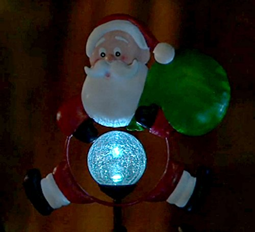 Garden Lights Qvc : Qvc m solar light led christmas holiday crackle glass santa claus