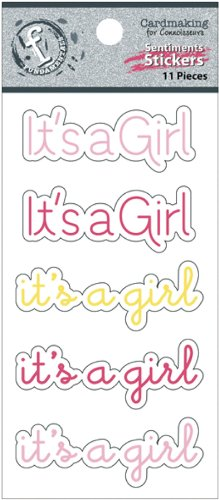 Ruby Rock-It Fundamentals Cardmaking Cardstock Stickers, 2.5 by 4.75-Inch, It's a Girl, 2-Pack