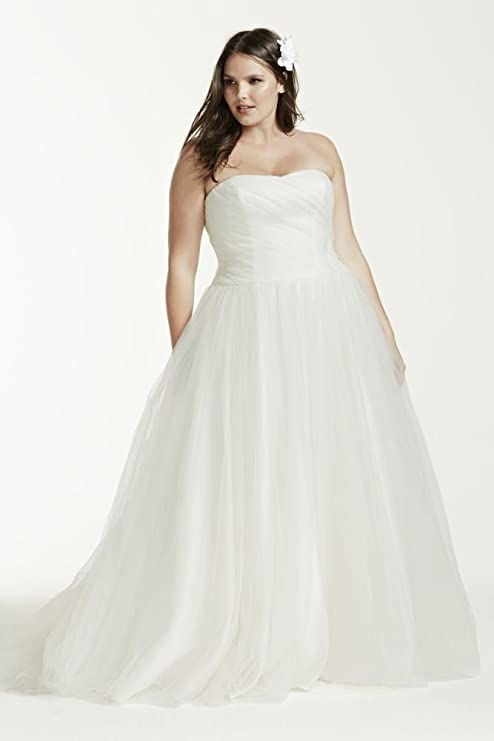 Ruched Bodice Tulle Plus Size Wedding Dress Style 9MK3576, Ivory, 18W