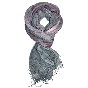 LibbySue-Impressionist Watercolor Crinkle Scarf (Light Gray)