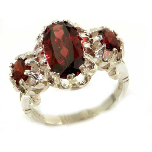 Large Luxury Solid Sterling Silver Natural Vibrant Garnet Victorian Inspired Ring - Size 12 - Finger Sizes 5 to 12 Available - Suitable as an Anniversary ring, Engagement ring, Eternity ring, or Promise ring