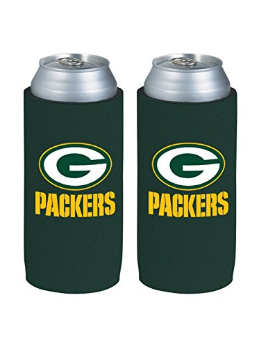 NFL Football 2015 Team Color Logo Tall Boy 24 oz Can Holder Koozie Cooler 2-Pack (Green Bay Packers) (Green Bay Packers Can Holder compare prices)