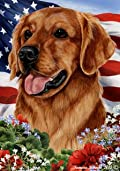 Golden Retriever Red Dog - Tamara Burnett Patriotic I Garden Dog Breed Flag 28'' x 40''