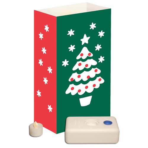 12 Count Battery Operated Luminary Kit With Christmas Tree Design