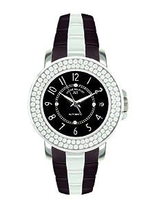 André Belfort 410075 - Reloj analógico de mujer automático con correa de cerámica negra - sumergible a 50 metros