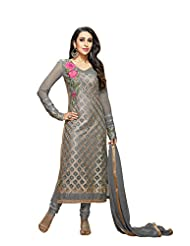 Aarti Saree Trendy Fashionable Grey Straight Suit With Flower Embroidery