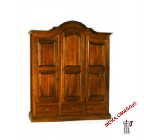 CLASSICO armadio legno mobile 3 ante 3 cassetti per soggiorno salotto camera 247 185x62x220