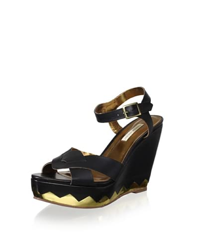 Cynthia Vincent Women's Lizzie Cross Front Wedge Sandal  - Black/Gold