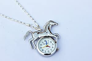 Adorable silver horse Pocket long Chain Necklace Watch