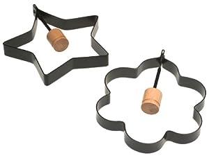 Norpro Nonstick Star and Flower Pancake Egg Rings, Set of 2