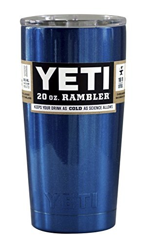 Metallic Blue Yeti Coolers 20 oz Rambler Tumbler Cup with Lid