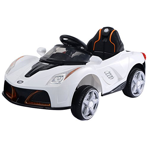 Costzon 12V Battery Powered Kids Ride On Car RC Remote Control w/ LED Lights Music White (Battery Powered Baby Cars compare prices)
