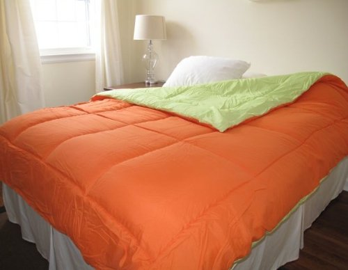 *$Orange/Lime Green Reversible Comforter