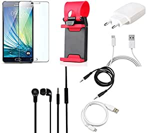 NIROSHA Tempered Glass Screen Guard Cover Case Charger Headphone USB Cable Mobile Holder for Samsung Galaxy ON5 - Combo