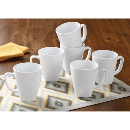 Better Homes and Gardens Set of 6 White Square 14 oz Coffee Mugs (White Coffee Mug Set compare prices)