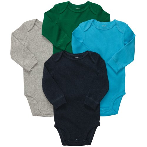 Carter'S Baby Boys' 4 Pk L/S Bodysuits - Solid - Newborn back-137369