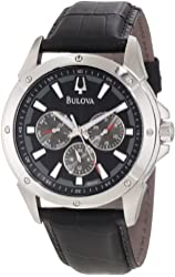 Bulova Men's 96C113 Stainless Steel Watch with Black Leather Strap