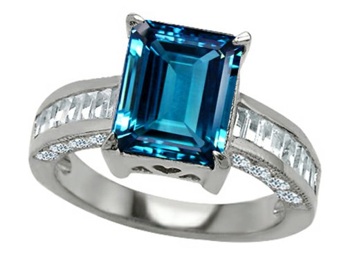 Star K 10X8Mm Emerald Cut Simulated Blue-Topaz Engagement Ring Size 7