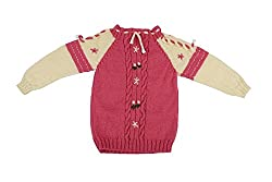 Kuchipoo Unisex Hand Knitted Pink & Cream Sweater 1 to 2 Years