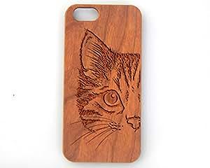 Cat Face, iPhone 7, 7 Plus, 6/6s, 6/6s Plus, 5/5s, 5c, 4/4s, Laser Engraved Genuine Wood Case (6/6s - Cherry)