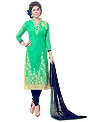 Latest Embroidered Chanderi Green And Blue Dress Material