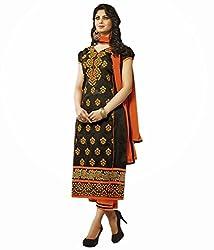 Tangerines Black Color Cotton Unstitched Salwar Kameez Embroidered Dress Material