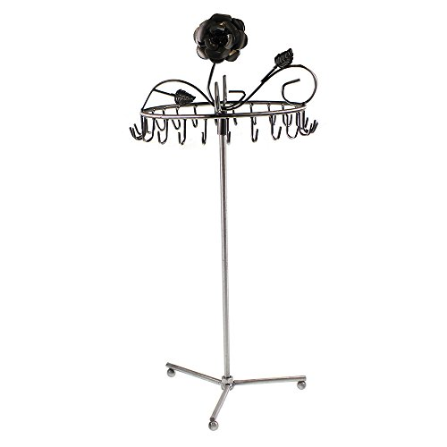 Super Rotating Brushed Silver Jewellery Necklace Display Stand Display Holder By Kurtzy Tm front-818559
