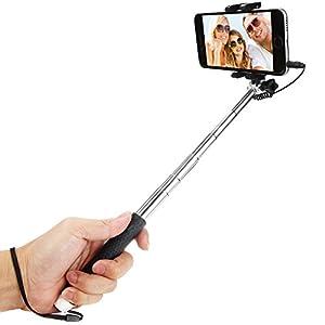 Selfie Stick, Bestwe Palo Selfie / Palillo Selfie / Palo para Selfie Extensible Control de Cable Inalámbrico (No Batería No Bluetooth) Autorretrato Selfie Monopod Polo con Titular de Montaje para Smartphones, iPhone, Samsung, Huawei, LG, Sony (Negro, Control de Cable)