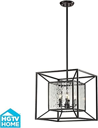 Hgtv Home 14122/4 Cubix 4-Light Pendant With Glass Shade, 18 By 18-Inch, Oiled Bronze Finish