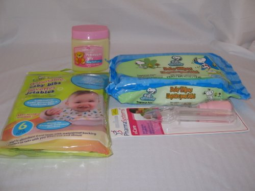Snoopy Baby Wipes, Disposable Bibs, Petroleum Jelly And Med Spoon & Dropper front-998058