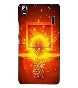 ColourCraft Flaming Basket Ball Design Back Case Cover for LENOVO A7000 PLUS
