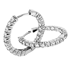 1.80 CT TW Classic Shared Prongs Diamond Inside/Outside Hoop Earrings in 14k White Gold