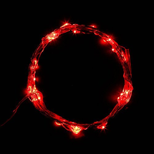 SUPERNIGHT 3m 30leds Battery Operated Silver String Lights Starry Starry LED Wire Lights with Timer Function for DIY Decoration - Red Color: With timer-Red Model: (Hardware & Tools Store)