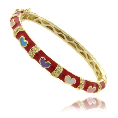 Lily Nily 18k Gold Overlay Red Enamel Multi Colored Heart Design Children's Bangle