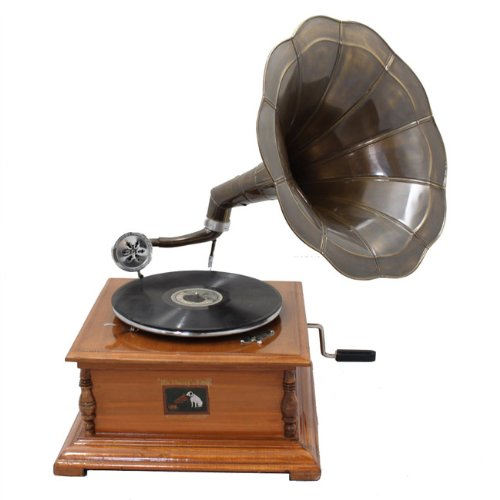 Antique Replica Rca Victor Phonograph Gramophone With Dark Aged Bronze Horn on clock radio with cd player