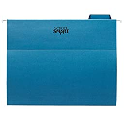 School Smart Letter Size Hanging File Folders with 1/5 Cut Tab - Pack of 25 - Blue