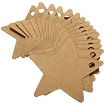 100pcs Five Star Kraft Paper Label Wedding Party Favor Gift Card Labels Tags-Brown