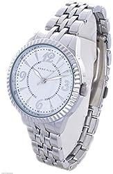 Anne Klein Women's White Dial Silver Tone Bracelet Watch AK/1759WTSV