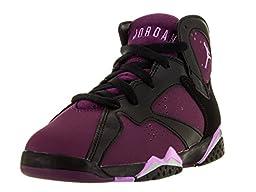 Nike Jordan Kids Jordan 7 Retro GP Black/Fchs Glow/Mlbrry/Wlf Gry Basketball Shoe 13 Kids US