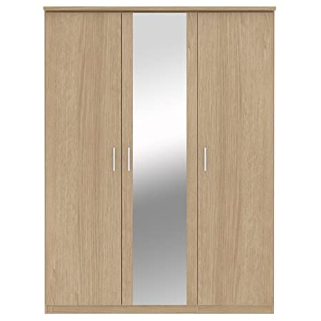 Bronte 3 Door Mirrored Wardrobe Oak