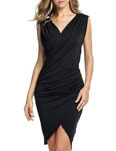 ANGVNS Womens Sleeveless Sexy Bodycon Midi Party Evening Party Dresses(Black L)