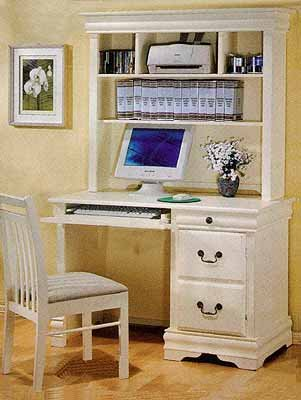 Louis Philippe Antique White Desk With Hutch