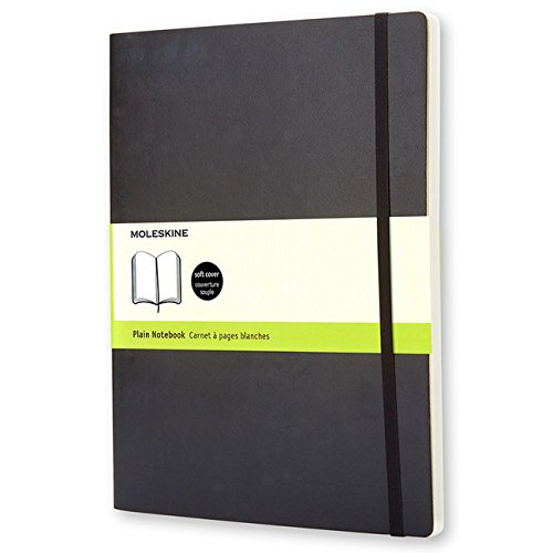 Moleskine Classic Notebook, Extra Large, Plain, Black, Soft Cover (7.5