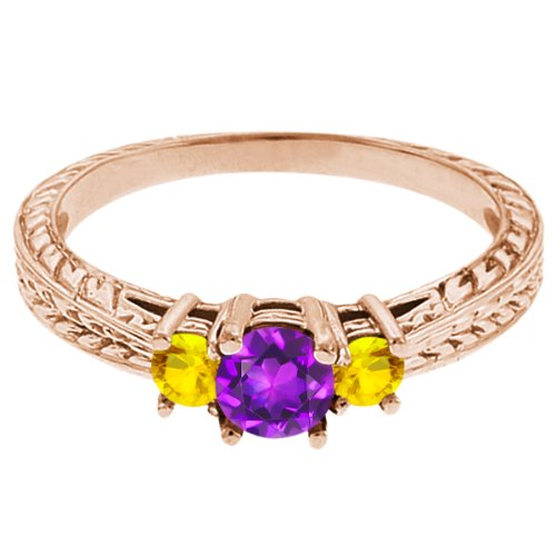 0.62 Ct Round Purple Amethyst Yellow Sapphire 18K Rose Gold 3-Stone Ring